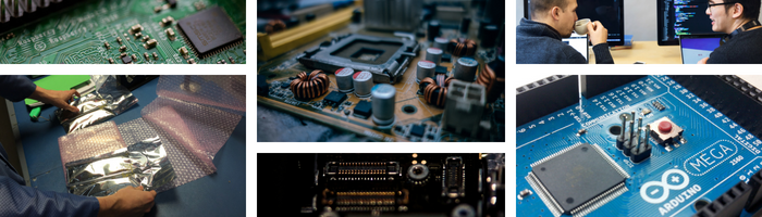 collage of circuit boards and engineers drinking coffee