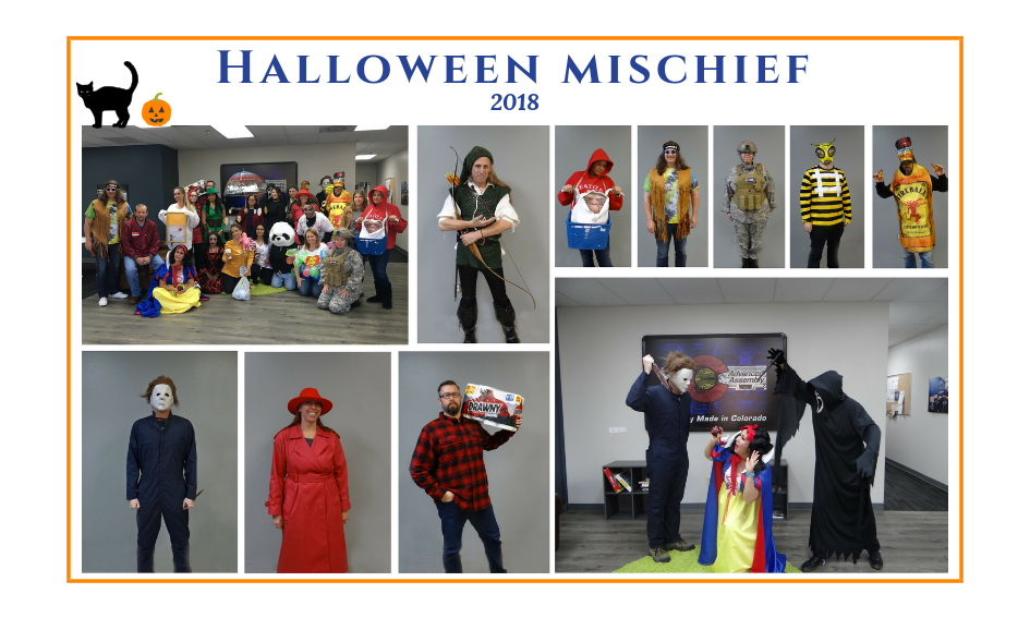advanced assembly employees in Halloween costumes