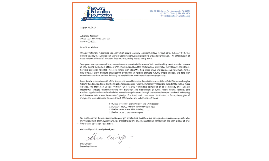 letter acknowledging donation in support of parkland shooting victims