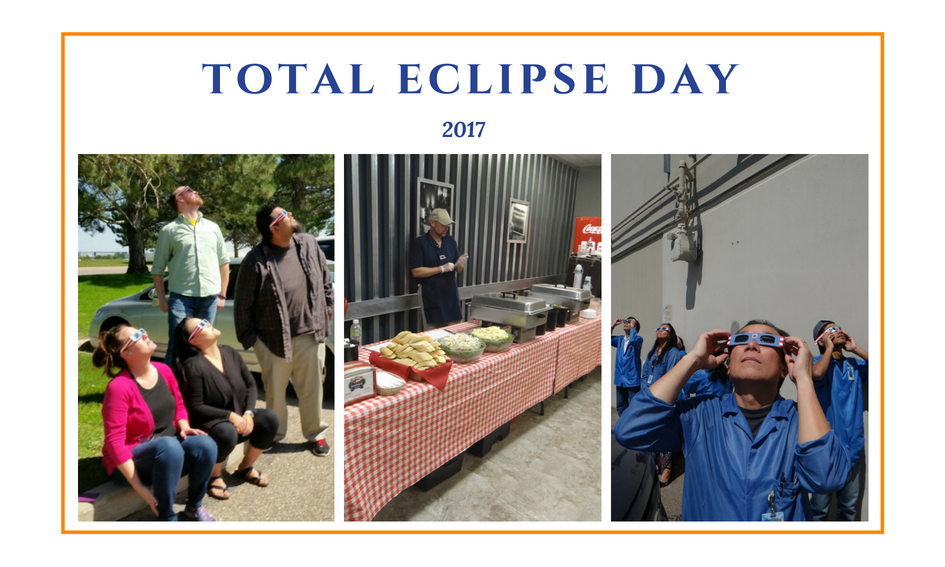 Advanced Assembly employees viewing total solar eclipse with protective eyewear