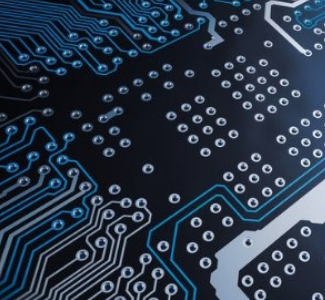 close-up of circuit board, teal, dark blue, silver